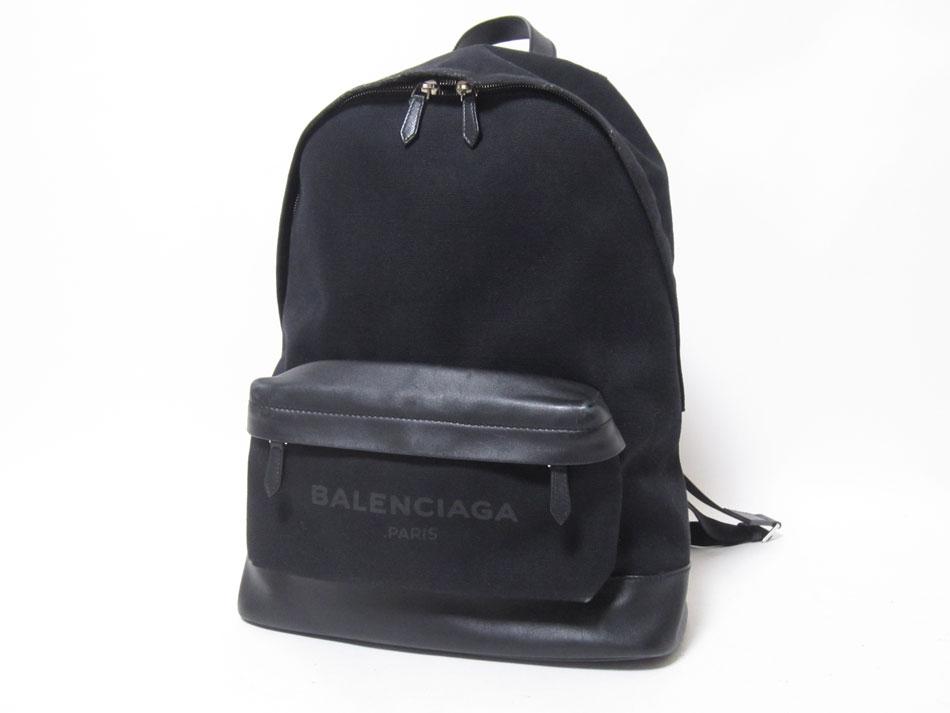 BALENCIAGA バレンシアガ バッグパック リュック リュックサック キャンバス レザー ブラック 392007【中古】