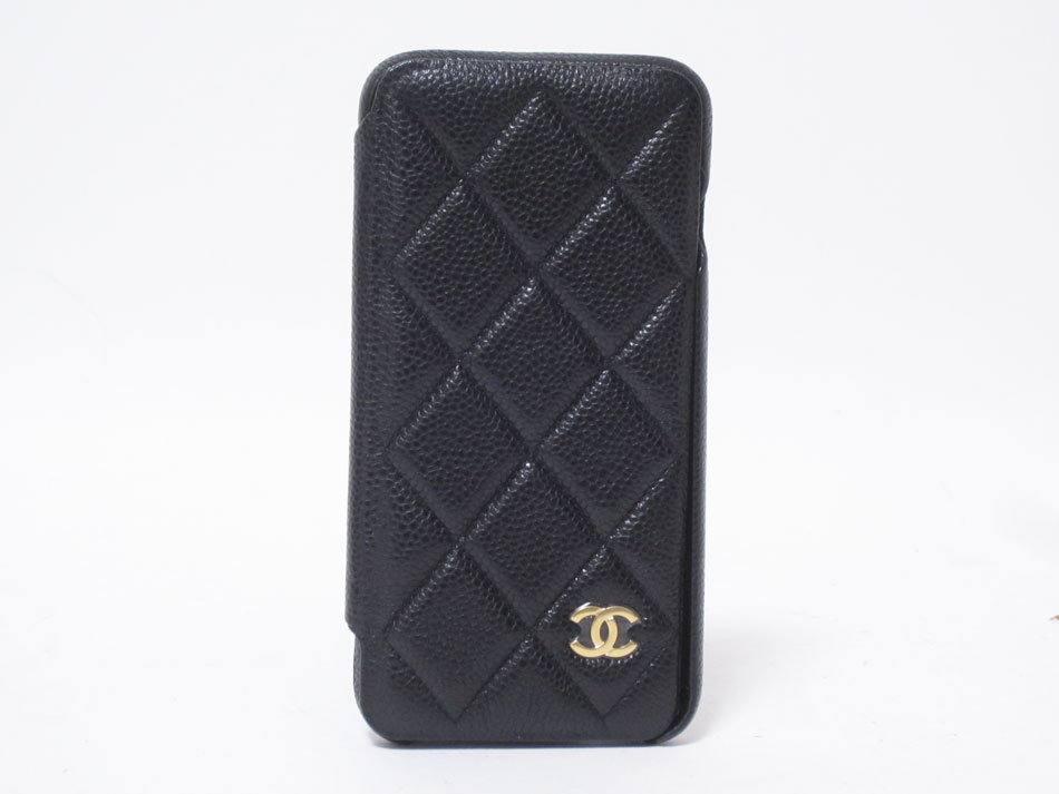 CHANEL シャネル キャビアスキン 携帯ケース 手帳型 iphone7+ 8+ ブラック ボルドー レザー マトラッセ 27番代 新品同様【中古】