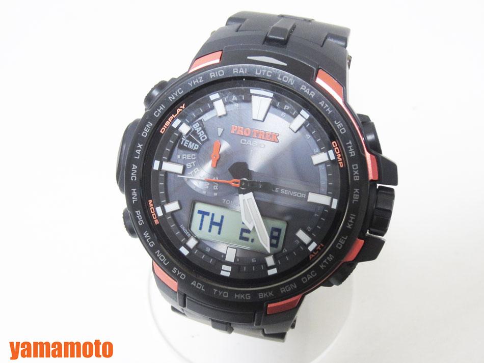 CASIO カシオ PROTREK プロトレック トリプルセンサー タフソーラー 電波 腕時計 メンズウォッチ PRW-6100Y-1JF 新品同様【中古】
