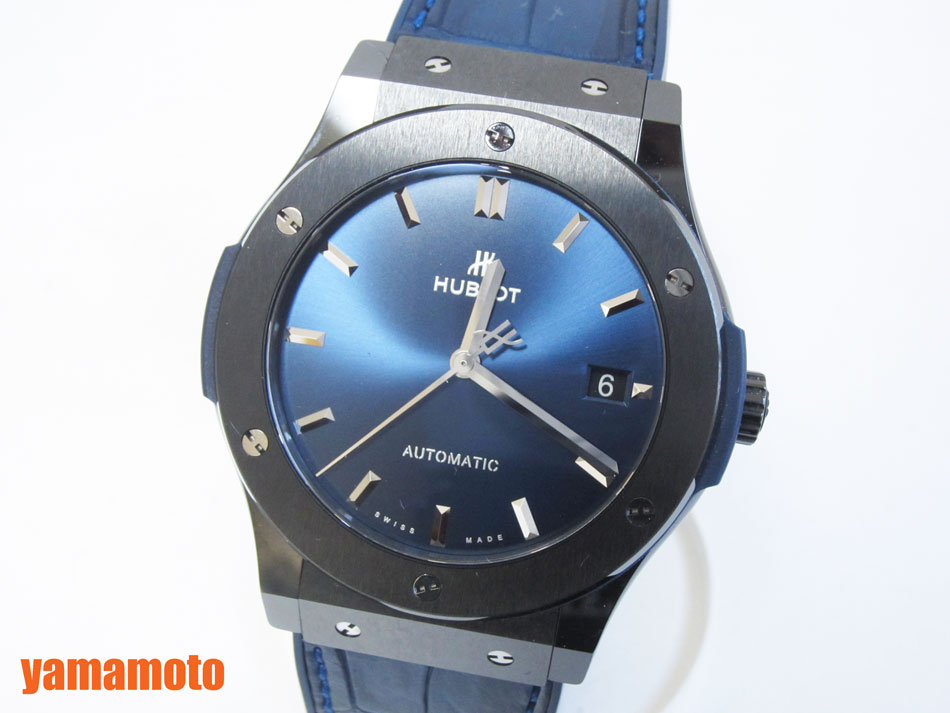 HUBLOT ウブロ クラシック フュージョン セラミック ブルー メンズウォッチ 腕時計 自動巻き 511.CM.7170.LR 超美品【中古】