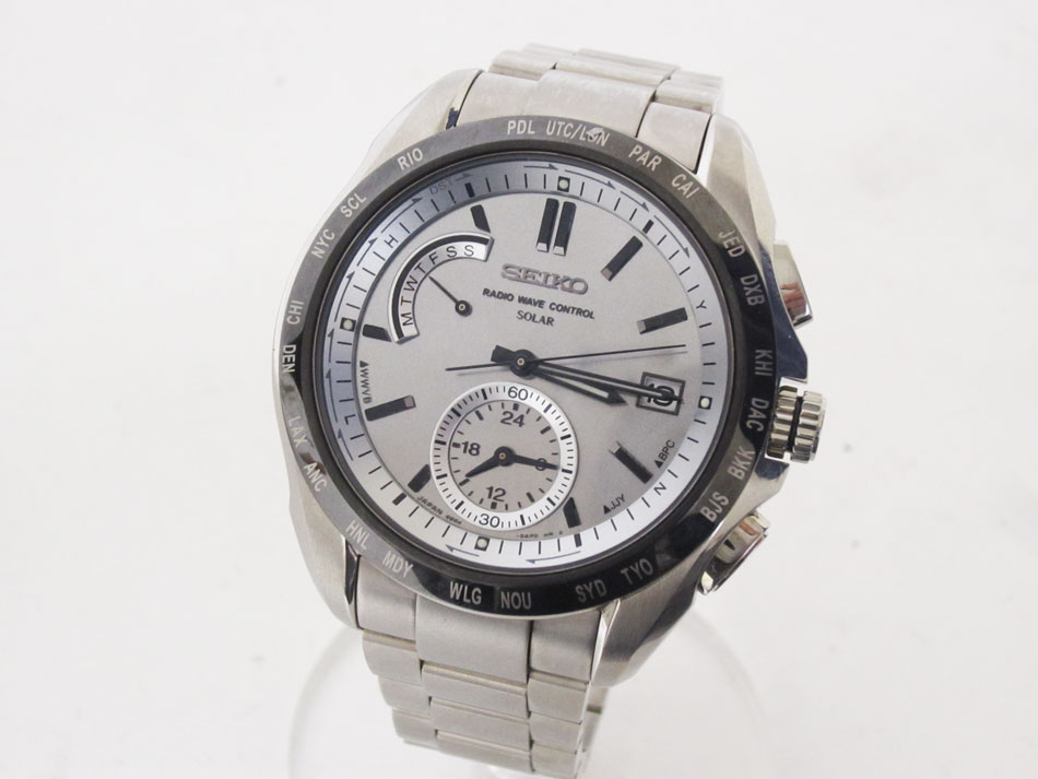 SEIKO セイコー BRIGHTZ ブライツ ソーラー電波 メンズウォッチ 腕時計 チタン シルバー 8B54-0AR0 美品【中古】