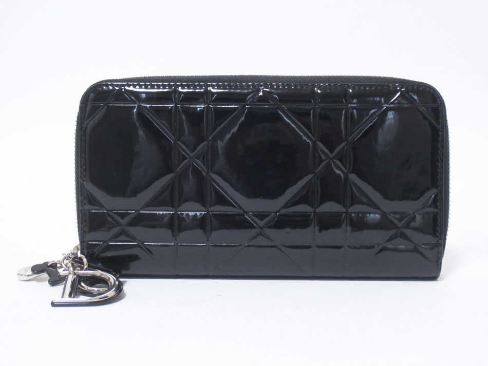 Christian Dior クリスチャン ディオール ラウンドファスナー財布 エナメル ブラック チャーム 美品【中古】