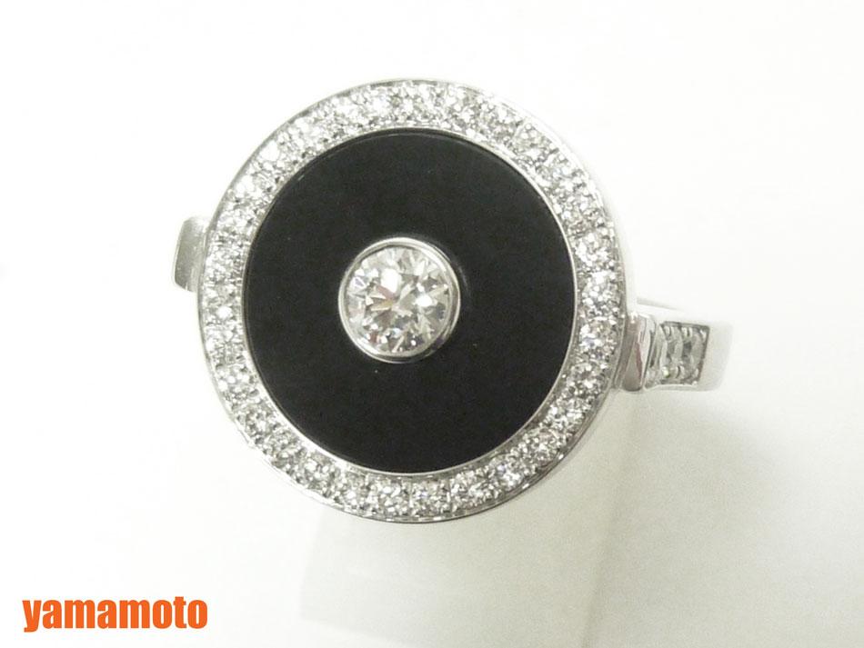 PIAGET ピアジェ リング 指輪 オニキス ダイヤ 750 WG 保証書 52 G34LC152 美品 【中古】