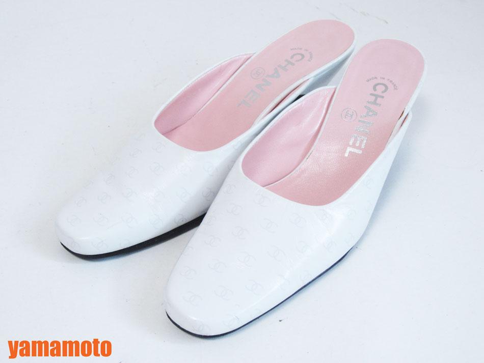 CHANEL シャネル サンダル レディース 靴 ホワイト ピンク レザー 36【中古】