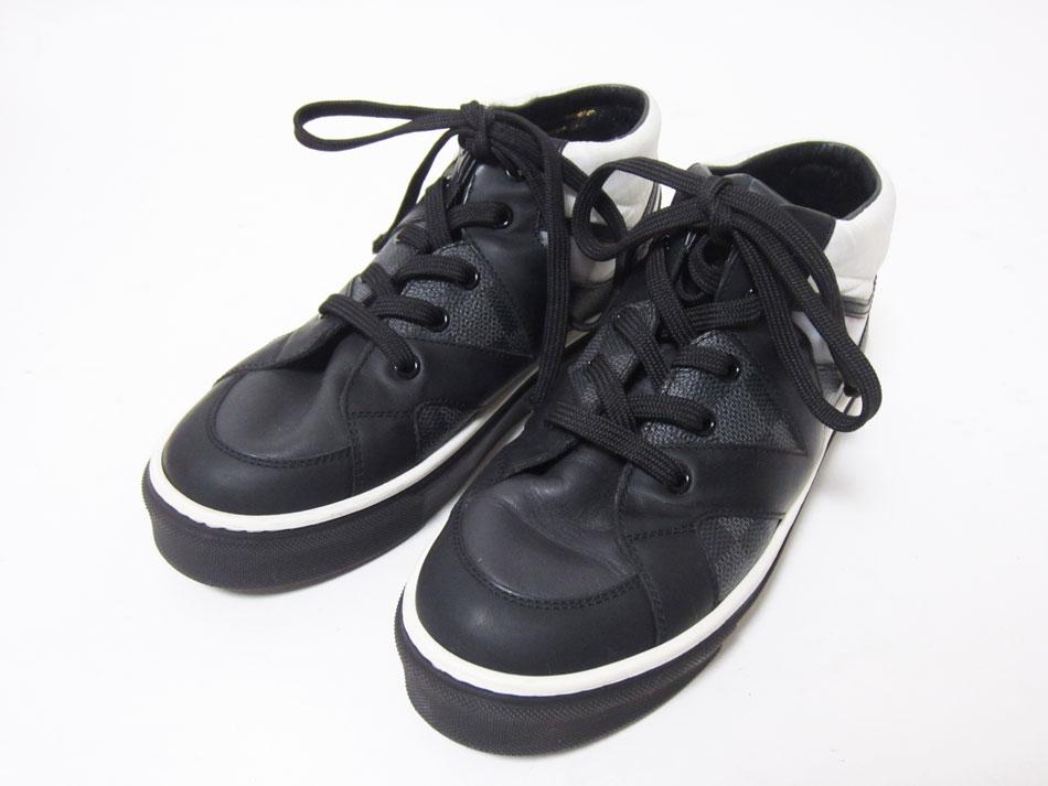 人気上昇中 LOUIS VUITTON ルイヴィトン キッズ スニーカー 靴 ホワイト ブラック 33 中古 ダミエグラフィット 期間限定今なら送料無料