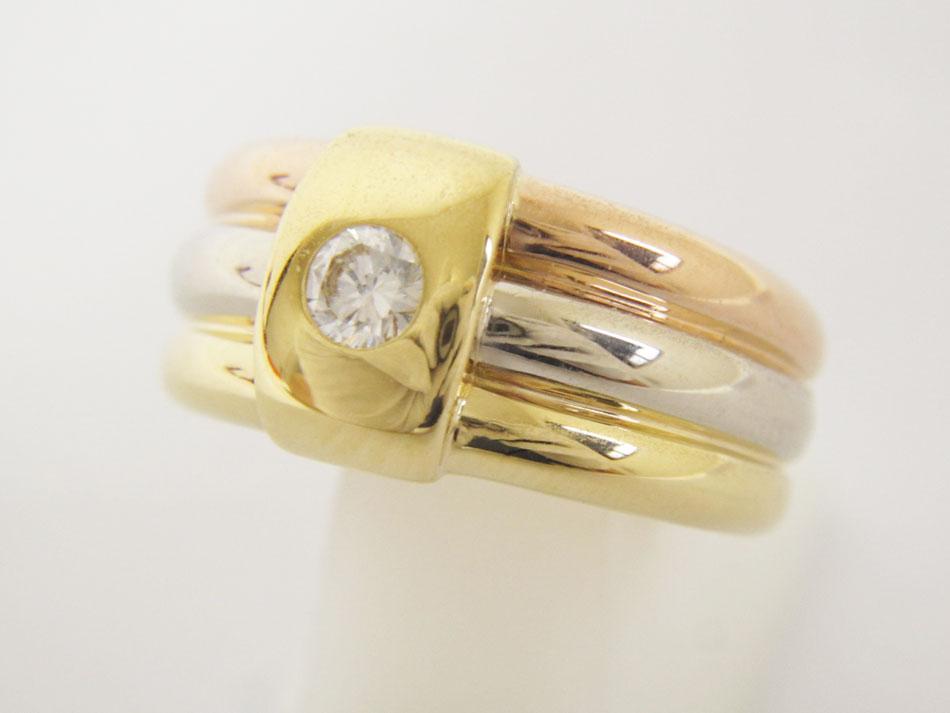 Cartier カルティエ 3カラー ダイヤ リング 指輪 750 K18 49 美品 【中古】