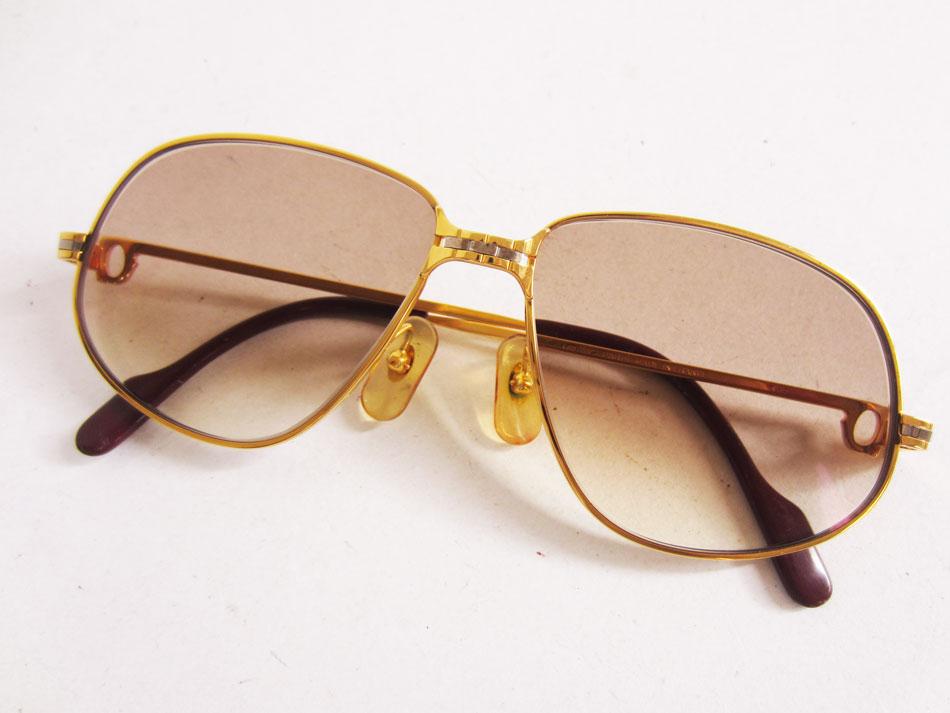 cartier カルティエ 眼鏡 眼鏡フレーム 度入り ラニエール ヴィンテージ ゴールド 56□14 135 美品【中古】
