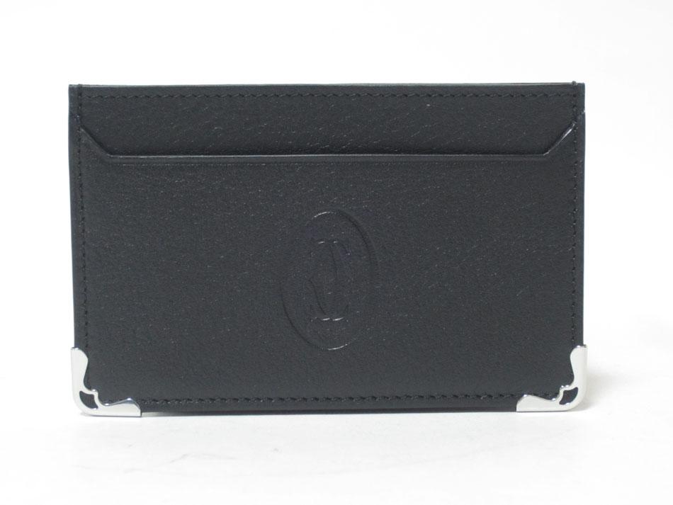 Cartier カルティエ カードケース 名刺入れ マスト ドゥ カルティエ レザー ブラック L3001425 未使用品 【中古】