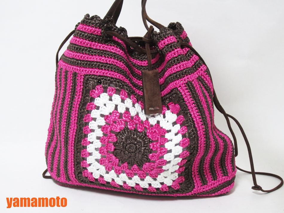 miu miu ミュウミュウ RAFIA ラフィア ショルダーバッグ 巾着 ピンク ブラウン 編み込み 限定品 RR2010 美品【中古】