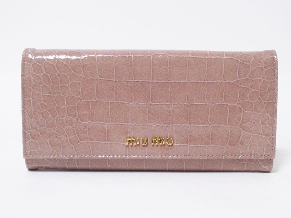 miu miu ミュウミュウ 長財布 レザー 光沢 ピンク ベージュ CIPRIA 5M1109 美品【中古】