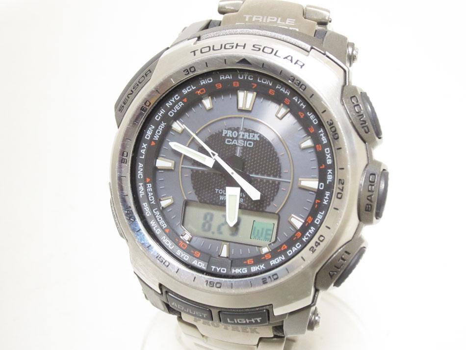 CASIO カシオ PROTREK プロトレック メンズウォッチ ソーラー電波 腕時計 PRW-5100T-7JF 【中古】