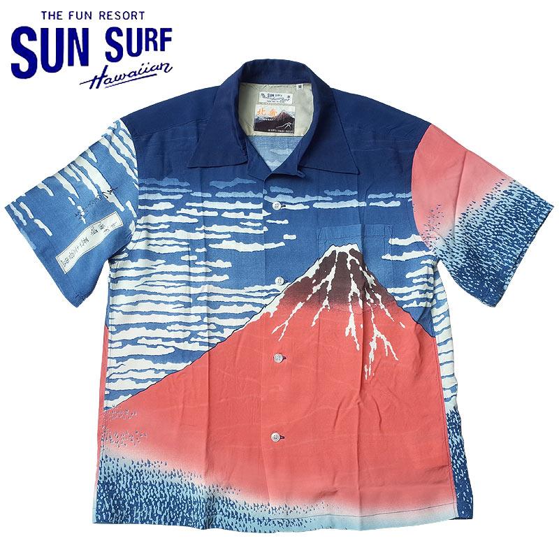 sale SUNSURF #SS37917 半袖 アロハシャツ SUN SURF×北斎 スペシャルエディション『凱風快晴』 メンズ 128ネイビー S-XXL