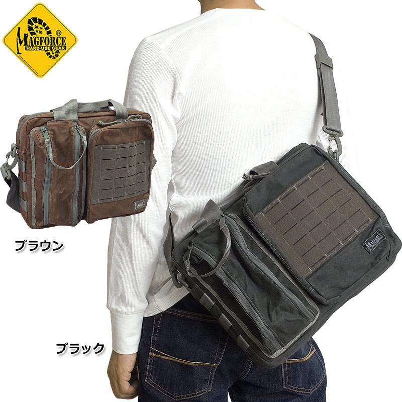 sale MAGFORCE #MF-W0343 リクルート ブリーフケース ワックスコットン ショルダー バッグ全2色