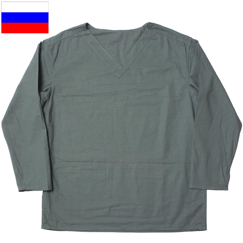 メール便OK 1点ならメール便可 特別セール品 ロシア軍 スリーピングシャツ サマー Vネック グレー デッドストック JS169NN 実物ミリタリー セールSALE%OFF プルオーバー コットン 薄手 インナー チャコール 綿 パジャマ 部屋着 ルームウェア