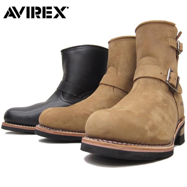 AVIREX アビレックス #AV2225 HORNET エンジニア レザーブーツ 【ブラック】【クレイジーホース】本革 カジュアル メンズ ミリタリー ホーネット バイカー 靴