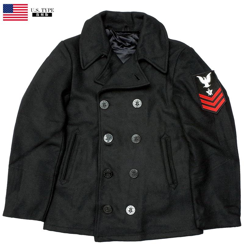 sale YMCLKYオリジナル 米軍タイプ NAVY Pコート ワッペン付き 【ブラック】