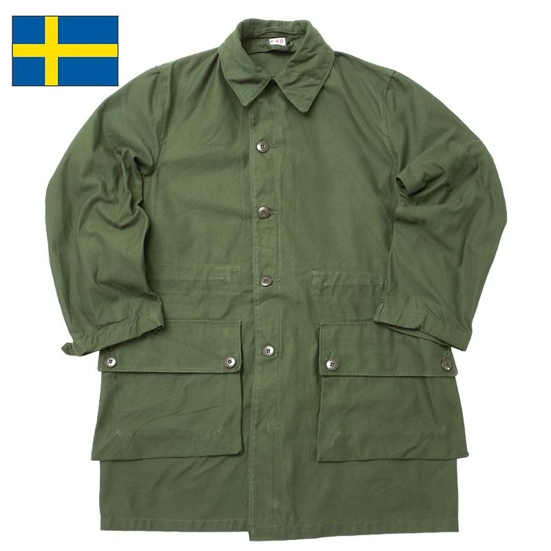 評判 スウェーデン軍 M59コート オリーブ デッドストック JC097NN ロング 返品不可 グリーン 実物ミリタリー アウター シェル