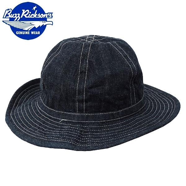 爆買いセール メール便OK バズリクソンズ 帽子 早割クーポン 1点ならメール便可 BUZZ RICKSON'S #BR01476A メンズ ワークキャップ 夏 レディース アウトドア デニムワーキングハット ネイビー