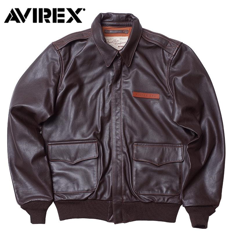 セール AVIREX #6181061 A-2 プレーン レザー ジャケット メンズ 55ブラウン M-2XL【TKA】
