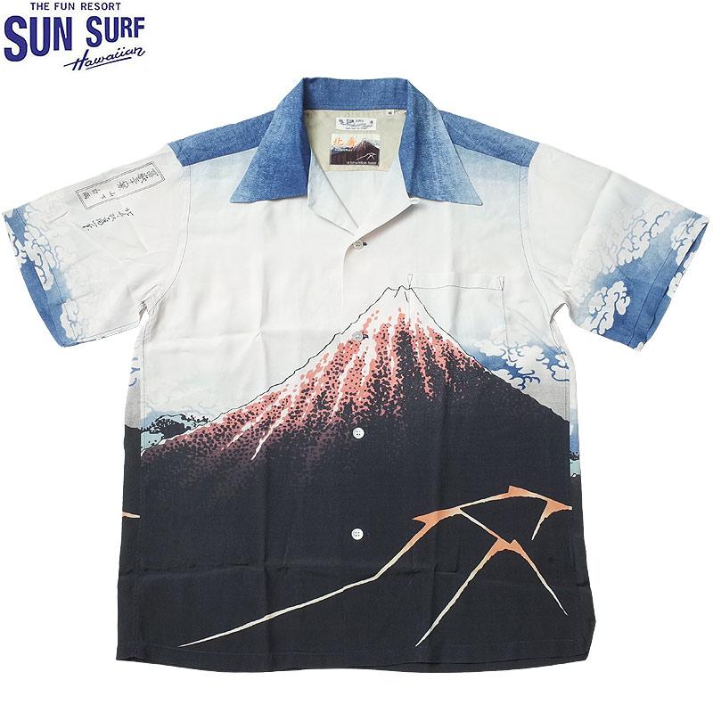 sale SUNSURF #SS38197 SUN SURF×北斎 スペシャルエディション 半袖 アロハシャツ『山下白雨』 メンズ 105オフホワイト S-XL