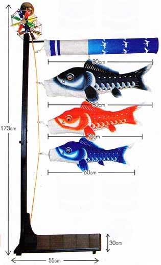 【室内鯉のぼり】瑞宝0.8mセット