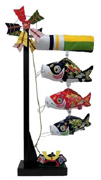 室内鯉のぼり ちりめん鯉飾り(B)小:兜付