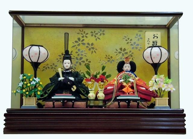 【雛人形】瓦や裕庵 監修 小三五親王:濃緑・小桜 アクリルケース入り