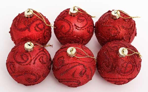 クリスマスツリーオーナメントセット 海外 ストア 7cmクリスマス柄入ボール6個セット赤