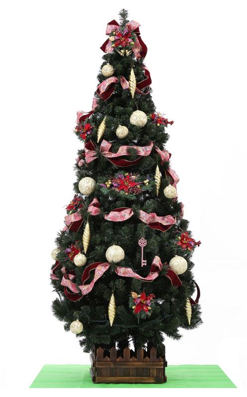 クリスマスツリーセット オリジナルツリー 200球LEDライト 注目ブランド 装飾品付 210cmスリム装飾付ツリーセット赤金28-8 木枠 定番から日本未入荷