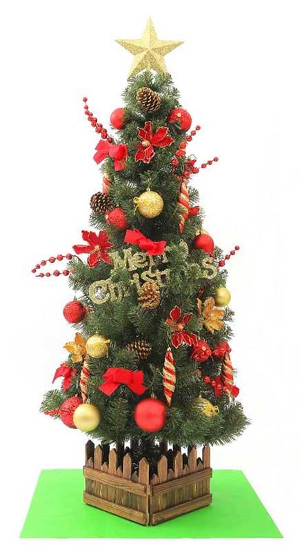 150cmスリム装飾ライト付ツリーセット29-7赤金