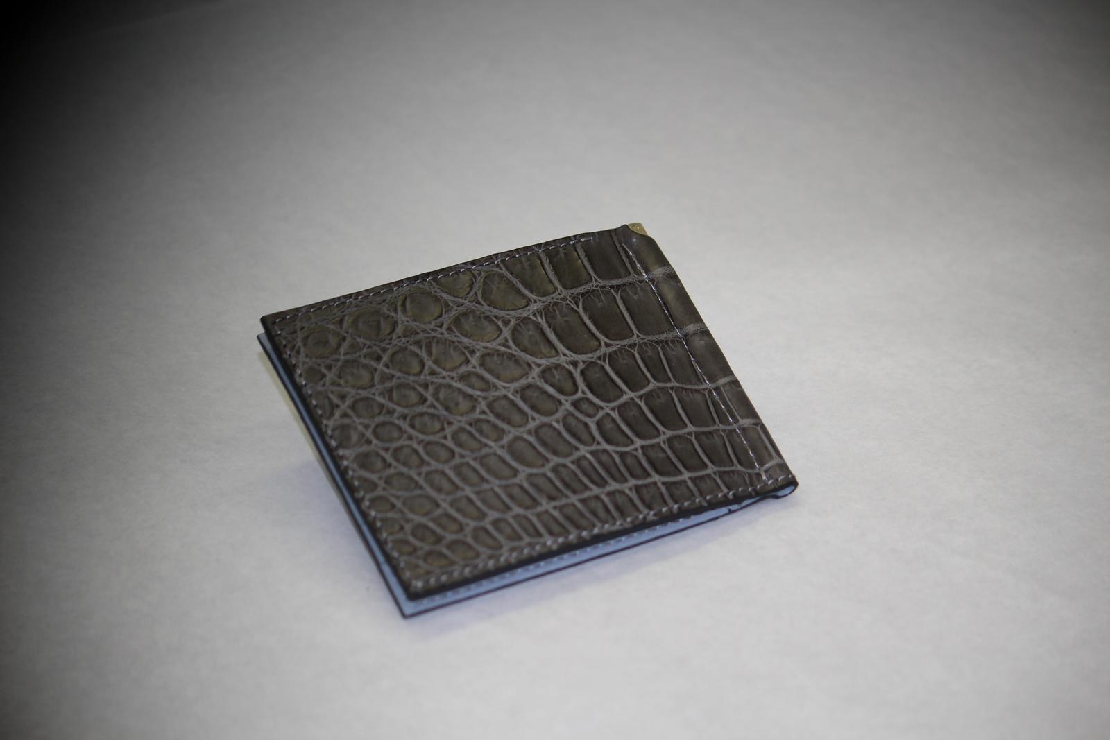 クロコダイル 財布 マネークリップ 山本製鞄 メンズ 日本製 本革 グレー