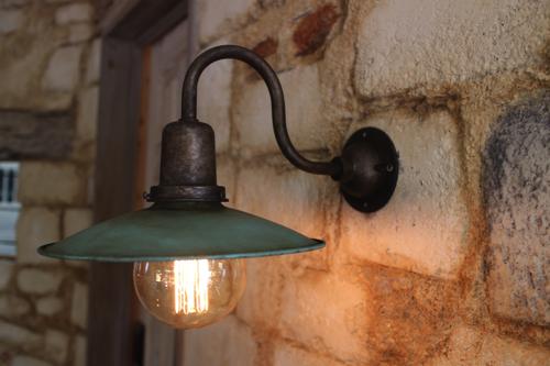 インダストリアルライト シルバーアームグリーングレー系E型【送料無料】1点もの ブラケットライト 室内照明 壁付け 照明 壁掛けライト ブラケット照明 屋外照明 LED ブラケットライト アンティーク レトロ 照明器具 おしゃれ