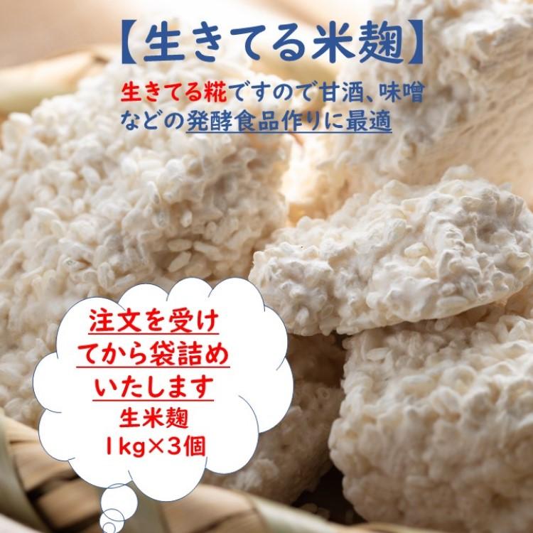 一粒一粒に糀菌がいきわたるよう丹念に手作業にて作り上げました 糀菌や酵素の働きが活発で 旨みを引き出しながら熟成を続ける 発酵食品作りに最適な本物の生きた生糀です 送料無料 生米こうじ 1kg×3 生きた糀 新作通販 注文を受けてから袋詰め 会津産コシヒカリ使用 酵素の働きが活発 冷凍保存可能 発酵食品作りに最適 塩糀 甘酒 醤油麹 こうじ水 生酵素 醤油糀 味噌作り みそ作り 新鮮 交換無料 味噌 塩麹 こうじ 国産 生麹 蔵元直送 麹