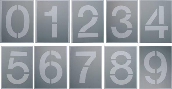 吹き付け板 文字サイズ 縦300mm【数字10枚セット】ステンシル 刷り込み板
