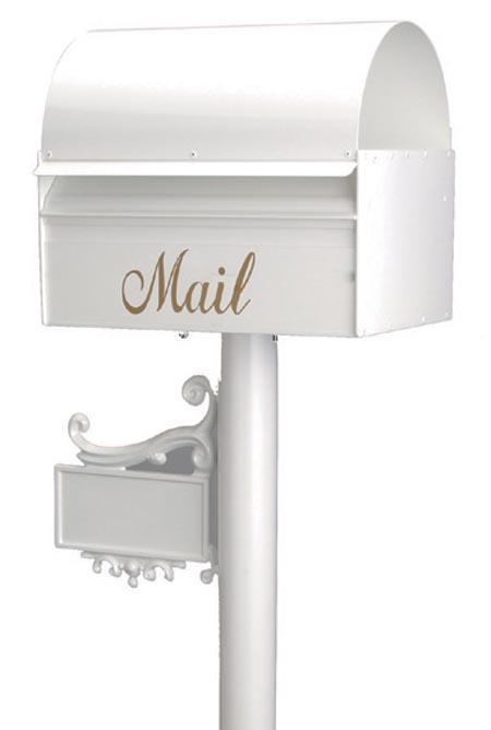 郵便ポスト レターボックスマン アメリカンポスト 3091 (NPポールネームプレート台座付) ホワイト デザイン ポスト
