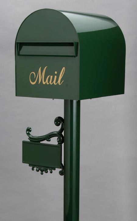 郵便ポスト レターボックスマン アメリカンポスト 3105 (NPポールネームプレート台座付) グリーン デザイン ポスト