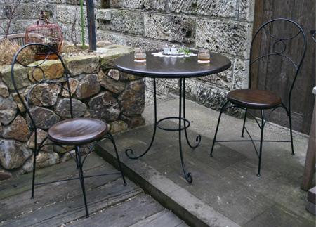 ガーデン テーブル セット アイアンチークテーブル3点セット ロートアイアン ガーデンファニチャー 送料無料