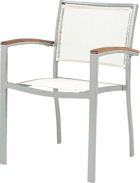 ガーデンチェア アルミスクエアチェア シルバー 1脚 ユニソン 椅子 アルミ製