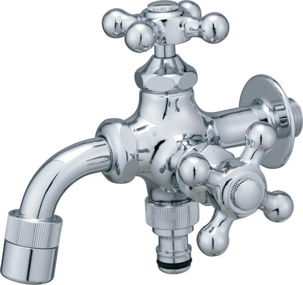 蛇口 水栓金具 プレーンフォーセット ツイン シルバー ユニソン 泡沫アダプター・ホース用アダプター付