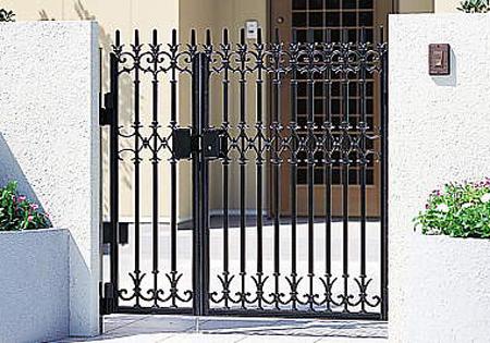 門扉 門柱タイプ ファンセル5型 親子開き タッチ錠 鋳物 0412+0812 三協立山