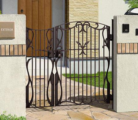 門扉 鋳物 フェアル1型 アイアン 親子開き 門柱タイプ 0410+0810 三協立山