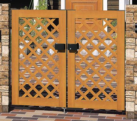 木粉入り 樹脂 門扉 門柱タイプ プラウディA型 両開き 0610 三協立山 木目調