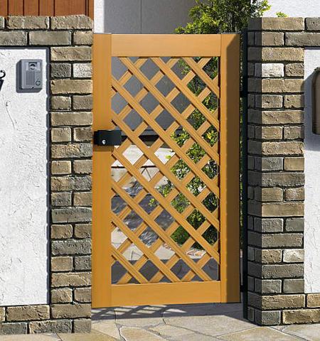 木粉入り 樹脂 門扉 片開き 門柱タイプ プラウディA型 0812 三協立山 木目調