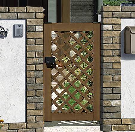 木粉入り 樹脂 門扉 片開き 門柱タイプ プラウディA型 0712 三協立山 木目調