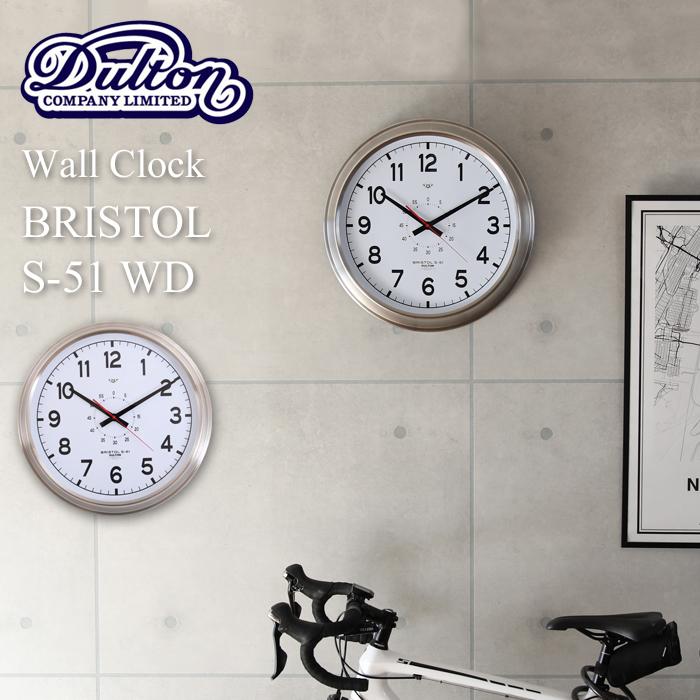 【着後レビューで選べる特典】 壁掛け時計 直径52cm DULTON/ダルトン 「Wall clock Bristol S-51 WD」 ウォールクロック ブリストル K725-923WD 時計 壁掛け 掛け時計 大型 大きい リビング シンプル モダン インダストリアル おしゃれ デザイン インテリア 雑貨