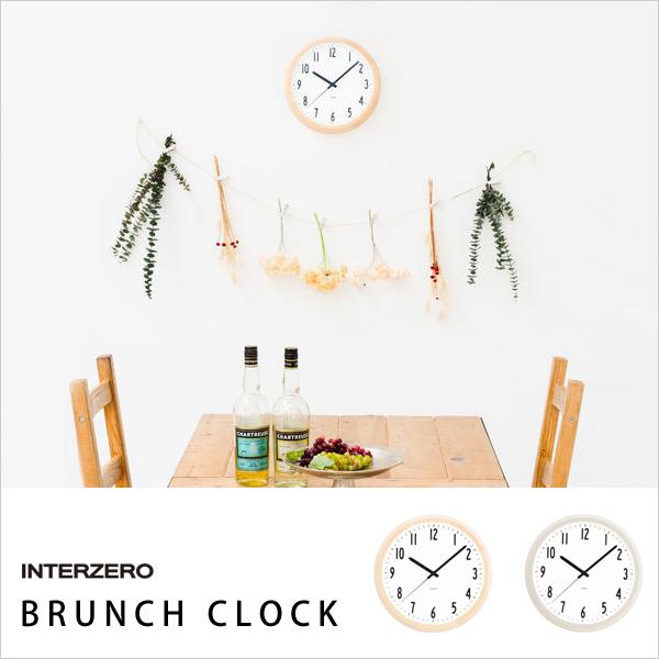 【着後レビューで選べる特典】 INTERZERO/インターゼロ 「BRUNCH CLOCK」 ブランチクロック CH-035BC CH-035GY 時計 壁掛け 掛け時計 モダン ナチュラル シンプル 北欧 おしゃれ ウッド グレー デザイン インテリア 雑貨