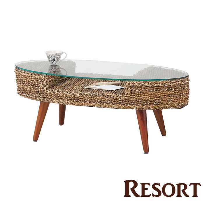 「クラール オーバルテーブル」 『Resort/リゾート』 ブラウン アバカ ローテーブル 【送料無料】