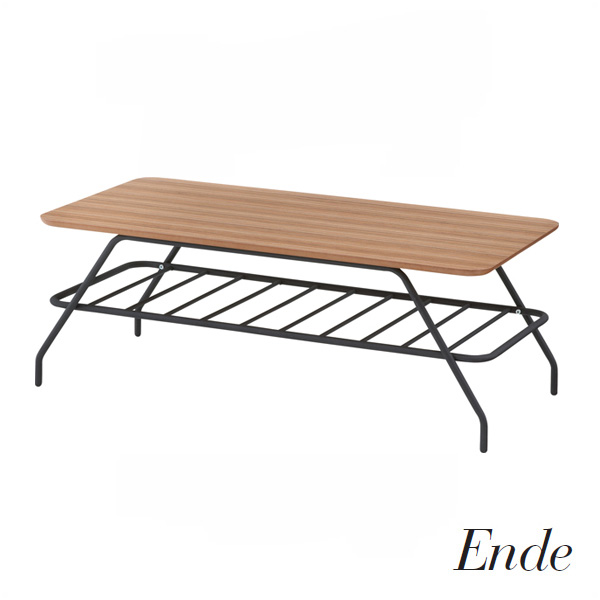 Ende(エンデ) 「エンデコーヒーテーブル」 ブラックフレーム 天然木化粧繊維板 【送料無料】
