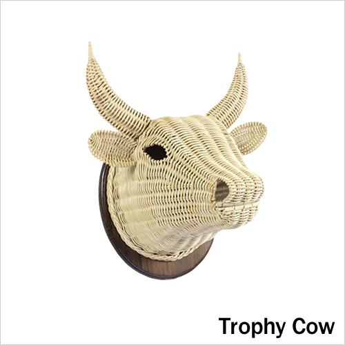 【着後レビューで今治タオル他】GLOCAL STANDARD PRODUCTS 「アニマルトロフィー カウ」ラタン製 cow ウシ うし 牛 ウォールオブジェ 壁付け 装飾 オブジェ 壁掛け オーナメント 動物 ハンティングトロフィー