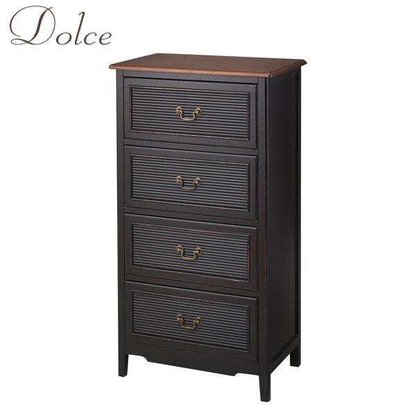 Dolce(ドルチェ) 「4段 チェスト」 収納 リビング収納 天然木 ブラック エレガント/アンティーク/東洋